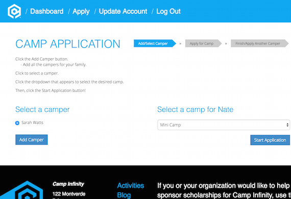 Camp Infinity Application