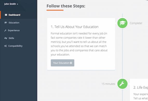 User Interface showing talent application progress