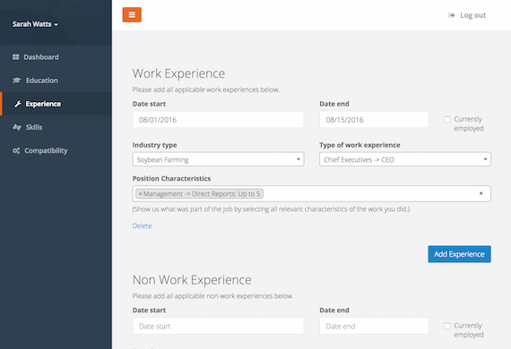 User Interface of work experience form for talent